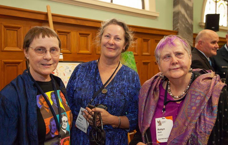 Judith Jones with 2019 Accolade recipient Robyn Hunt and Perry Piercy at the 2019 Arts Access Awards