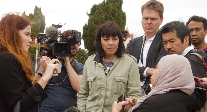 Antoinette Spicer, left, on the scene after the terrorist attack in Christchurch in March 2019