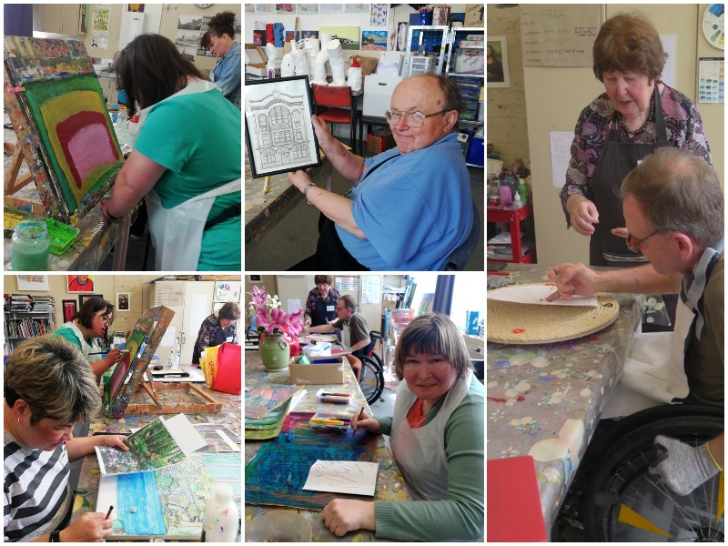 A collage of images of artists from CS Art, a creative space in Invercargill