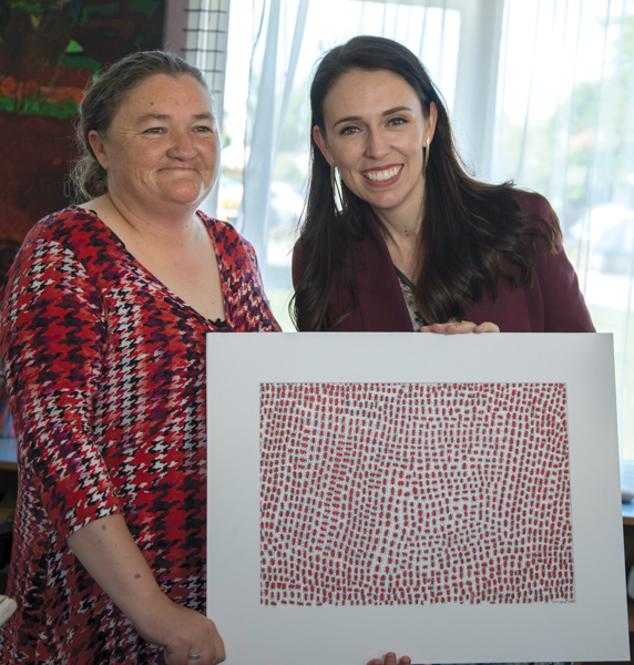 Prime Minister Jacinda Ardern visited Otautahi Creative Spaces in November 2017 and was presented this artwork by Carmen Brown