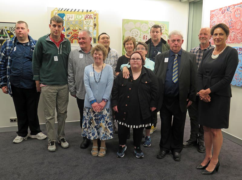 Nine White Room artists with Hon Poto Williams at the opening of the Look exhibition
