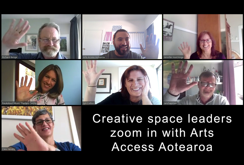 Collage of images of participants in the creative space leaders' conversation via Zoom