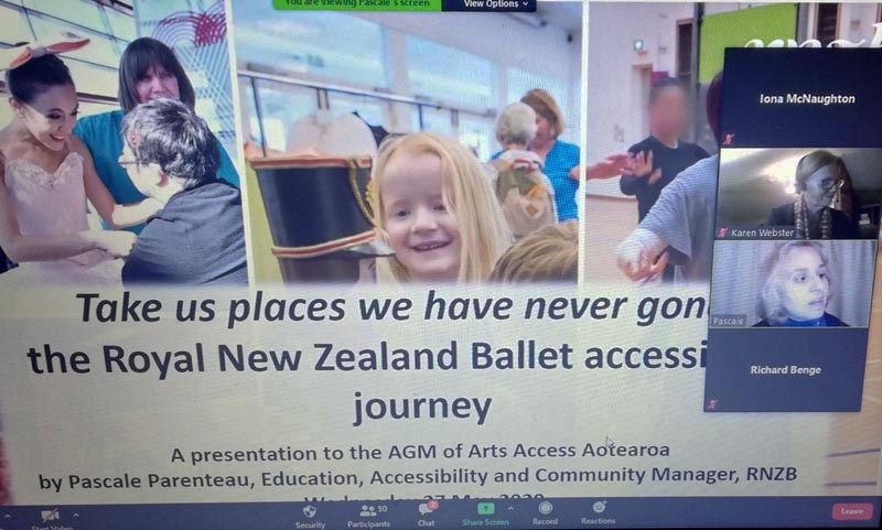 Pascale Parenteau talks on Zoom about RNZB's accessibility work at Arts Access Aotearoa's AGM in May 2020