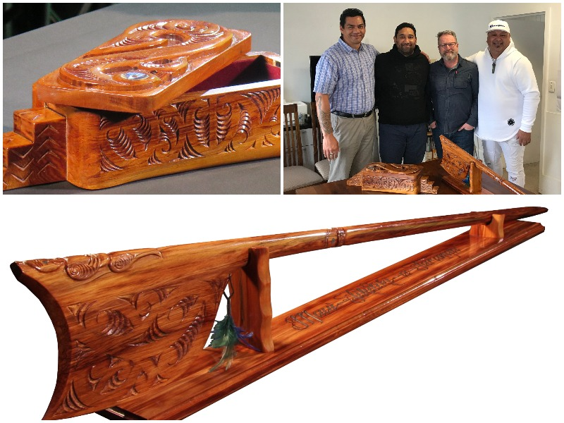Collage of Arts in Corrections award trophies, carved by men in Hawkes Bay Regional Prison