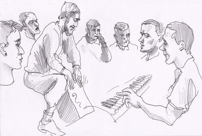 An illustration of a music workshop at HMP Lancaster Farms during the Changing Stories project Image: Paul Gent