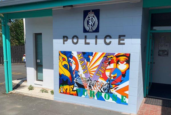 A mural outside the Kawakawa Police Station, painted by men in Redemption Performing Arts