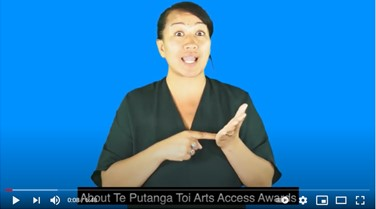 NZSL video about Te Putanga Toi Arts Access Awards 2021