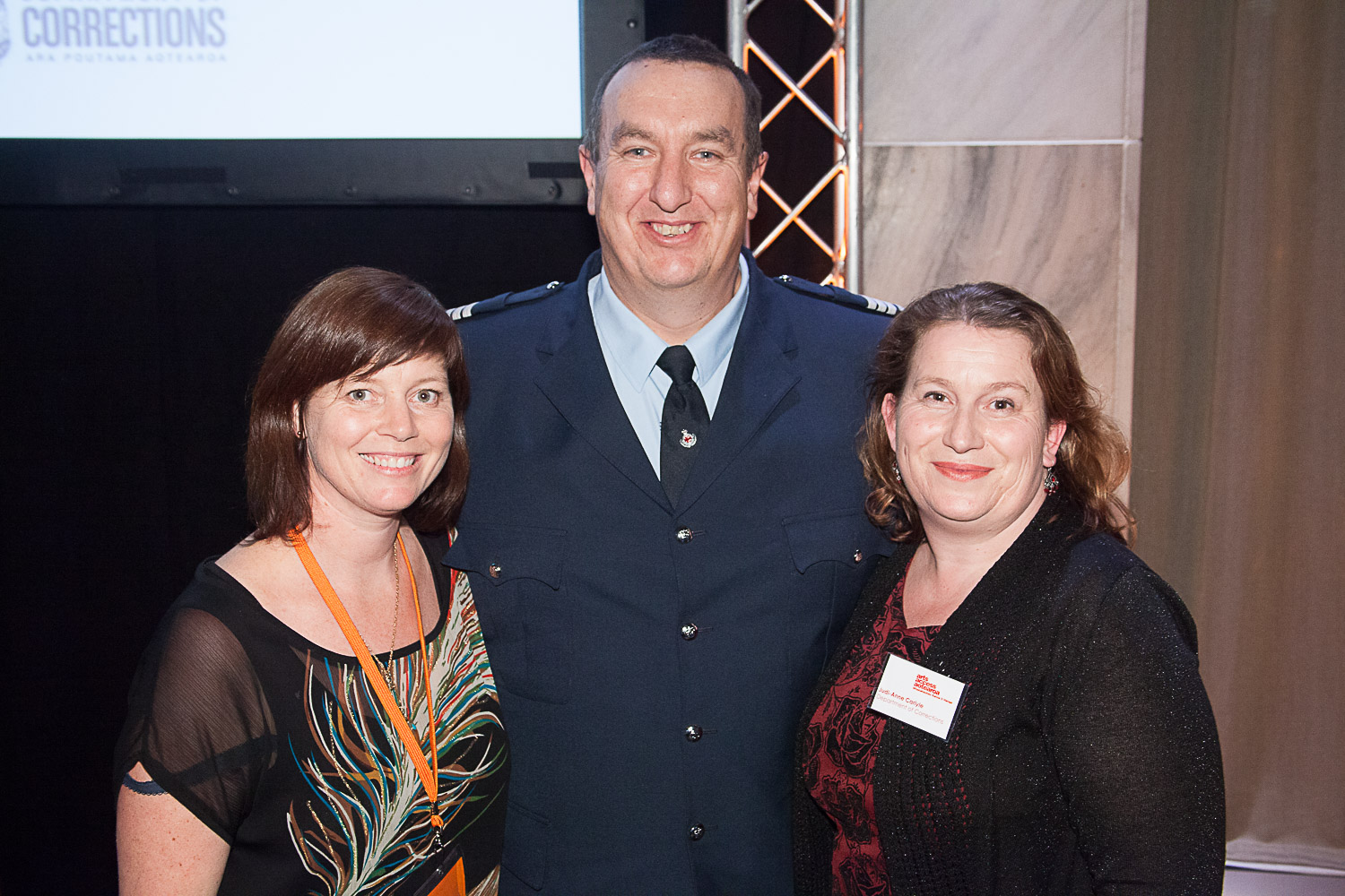 Jacqui Moyes, Arts Access Aotearoa, with Jason Carlyle and Judi-Anne Carlyle, Department of Corrections, at the Arts Access Awards 2014. Jason was recognised for his work in supporting arts actvities in Christchurch Prison as a rehabilitative tool.