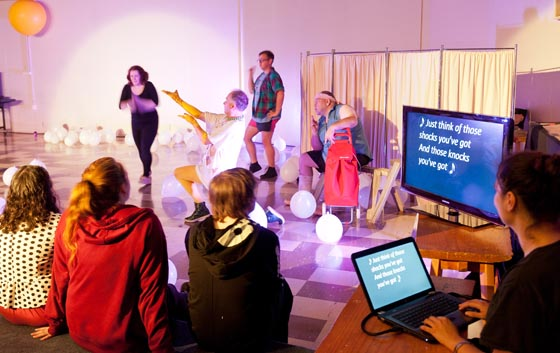Captioned theatre performance of MilkMilkLemonade at the Dunedin Fringe Festival 2014