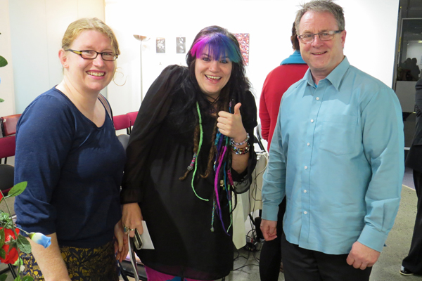 Gemma Williamson (Arts Access Aotearoa), Eryn Gribble (Alpha Art Gallery and Studio) and Richard Benge (Executive Director, Arts Access Aotearoa)