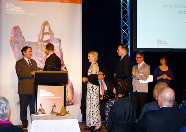 Creative New Zealand Chief Executive, Stephen Wainwright presenting the Art Access Creative New Zealand Art For All Award to Robbie Macrae (Director, Auckland Live), Suzy Randall (Show People Programme Manager) and  Penn Trevalla (Head of Marketing and Ticket Sales at Auckland Live)