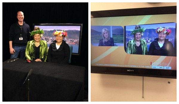 Mary Ama and Tiana Epati at the TVNZ Wellington news studio