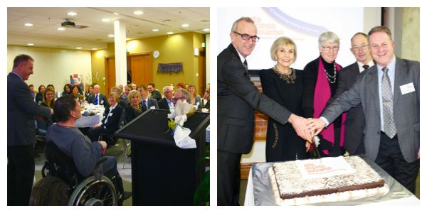 20th Anniversary lunch at CQ Hotels Wellington / Cake cutting