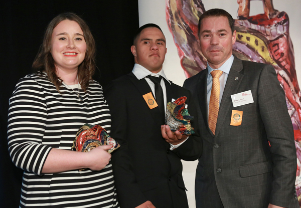 Olivier Lacoua present Rose Kirkup and Jacob Dombroski with the Arts Access CQ Hotels Wellington Community Partnership Award 2015
