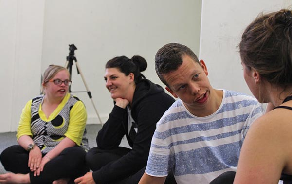 Theatre professionals working alongside youth from Active