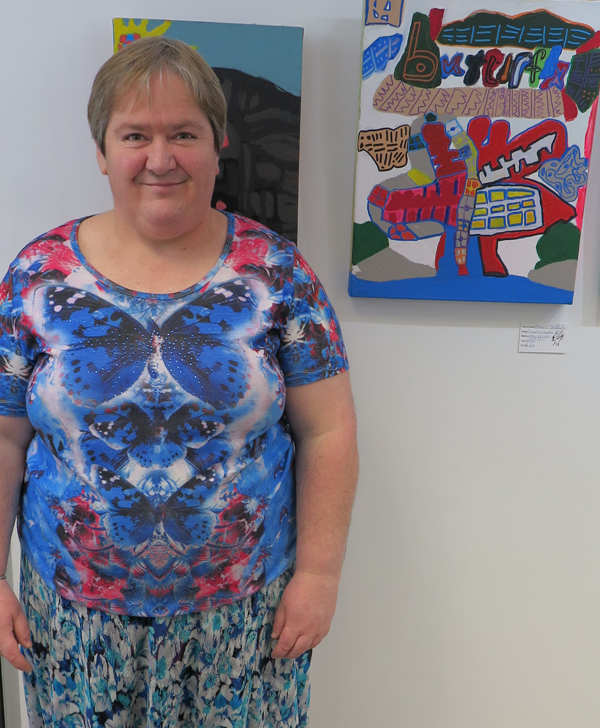 Karin Claydon at Alpha Art Studio with her latest exhibition '6 is a crowd' Photo credit: Andrea Moxham