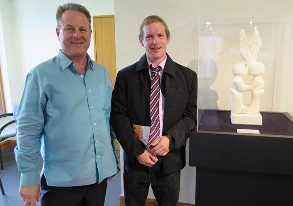 Artist Benjamin Morris with Richard Benge, Executive Director, Arts Access Aotearoa at the opening of Outside In