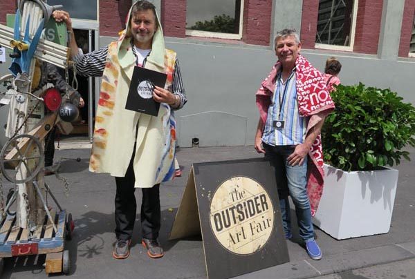 Curator Stuart Shepherd and Erwin van Asbeck, Toi Ora, at the Outsider Art Fair