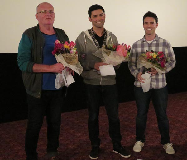 Artist Robert Rapson, director Leonardo Guerchmann and producer Tim Hope at the New Zealand premiere of the film