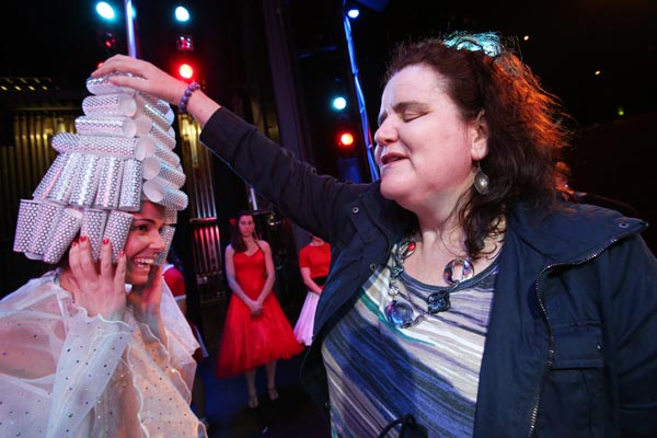 Martine Abel enjoys a touch tour of the Tauranga Musical Theatre production of Grease
