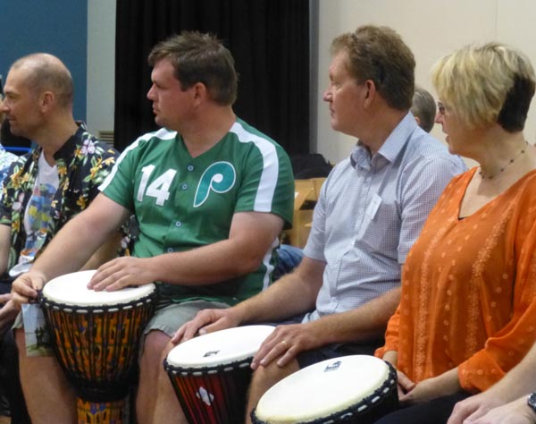 At right, New Zealand theatre practitioners Julie and Peter Cotterrill take part in a DRUMBEAT workshop at the Creative Innovations Conference in Brisbane 2014