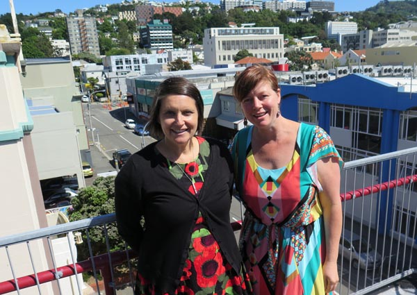 Writer and teacher Pip Adam and Jacqui Moyes, Prison Arts Advisor, Arts Access Aotearoa