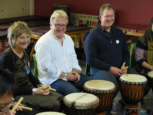 Shar Young, Peter O'Connor and Peter Cotterill participate in the drumming workshop with Julian Raphael at Community Music Junction