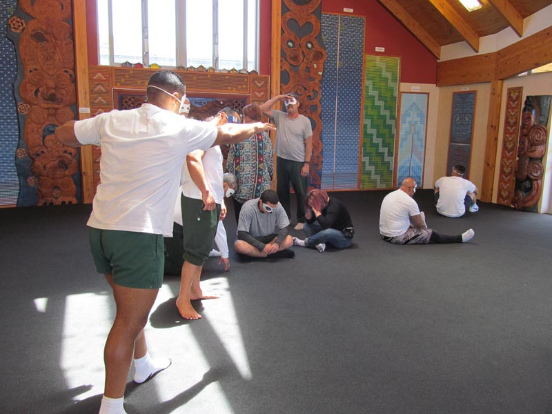 Men in Northland Region Corrections Facility participate in a performing arts workshop
