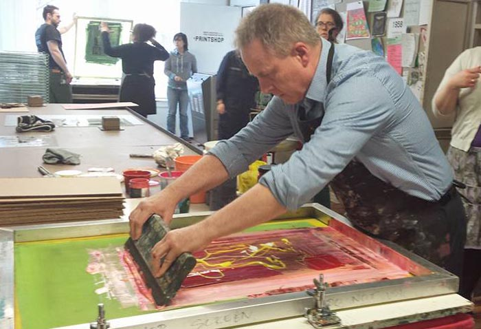 Richard Benge screen printing at AS220