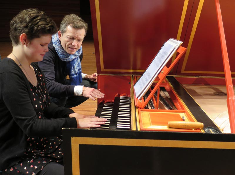 Renee Patete and harpsichordist Christophe Rousset, Les Talens Lyriques during a touch tour