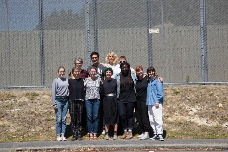 Artists involved in The Looking Glass Project outside Arohata Women's Prison