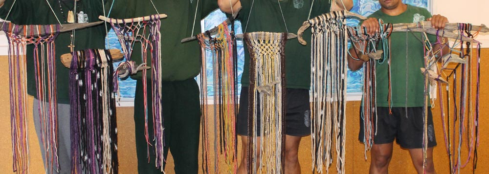 Macrame wall hangings made by men in the Maori Focus Unit
