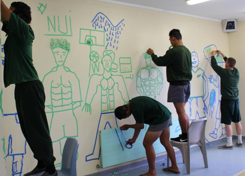 Tape art workshop in Hawkes Bay Regional Prison
