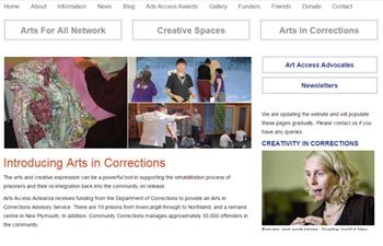 screenshot of the Arts Access Aotearoa websites