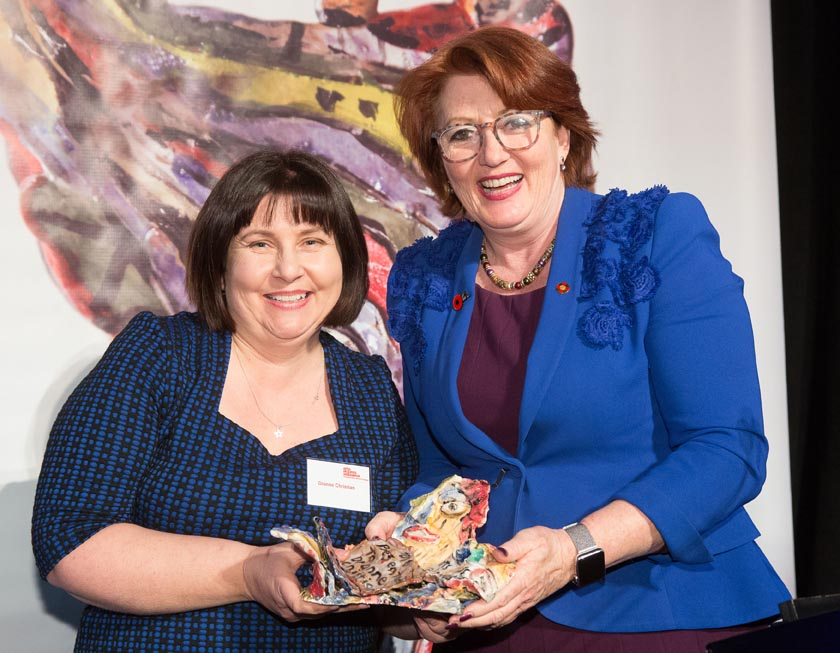 Dionne Christian, presented the Arts Access Media Award by Hon Maggie Barry