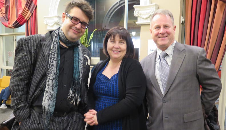 Writer Richard Fairgay, journalist Dionne Christian and Richard Benge, Executive Director, Arts Access Aotearoa