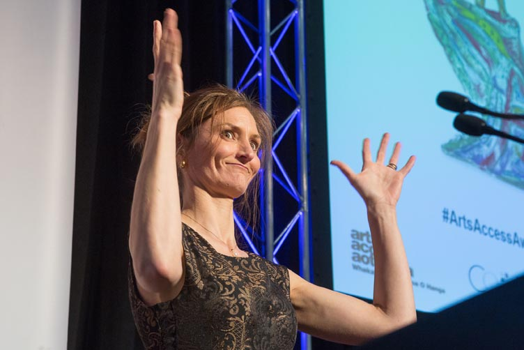 Victoria Manning, co-MC of the Arts Access Awards 2016