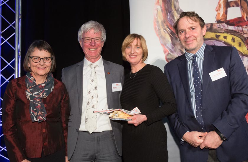 Catherine Gibson, Sue Jane and Peter Walls, Chamber Music New Zealand, presented the Arts Access Creative New Zealand Arts For All Award 2016 by Stephen Wainwright, Chief Executive, Creative New Zealand
