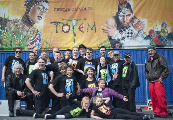 Circability Central performers with Cirque du Soleil's Totem crew
