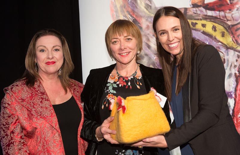 MP Jacinda Ardern presents the Arts Access Award 2016 to Tania Flowers and Frances Kelleher