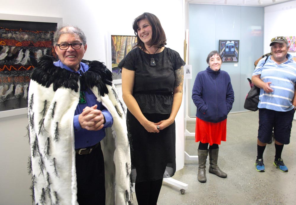 Artist Stephen Hallet, Rohana Weaver, Denise Dennehy of Alpha Art Studio, and Reece Tong, Pablos Art Studios
