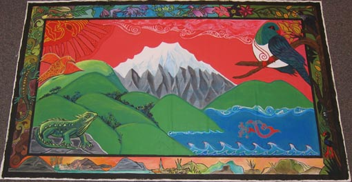 Part of a mural created by women in Arohata Prison