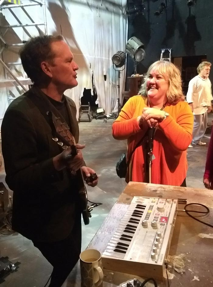 Shayne P Carter and Julie Woods during the touch tour
