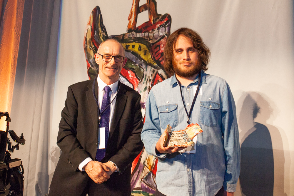 Kieran O'Sullivan presented Yaniv Janson with the Arts Access PAK'n'SAVE Artistic Achievement Award 2019 Photo: Vanessa Rushton Photography