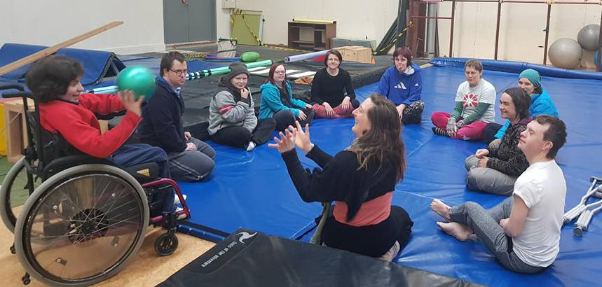 WIDance learns circus skills at Circus Hub