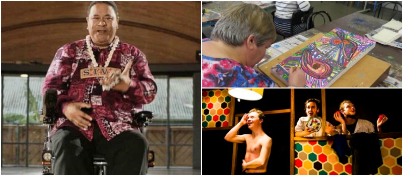 A collage of disabled artists creating and performing