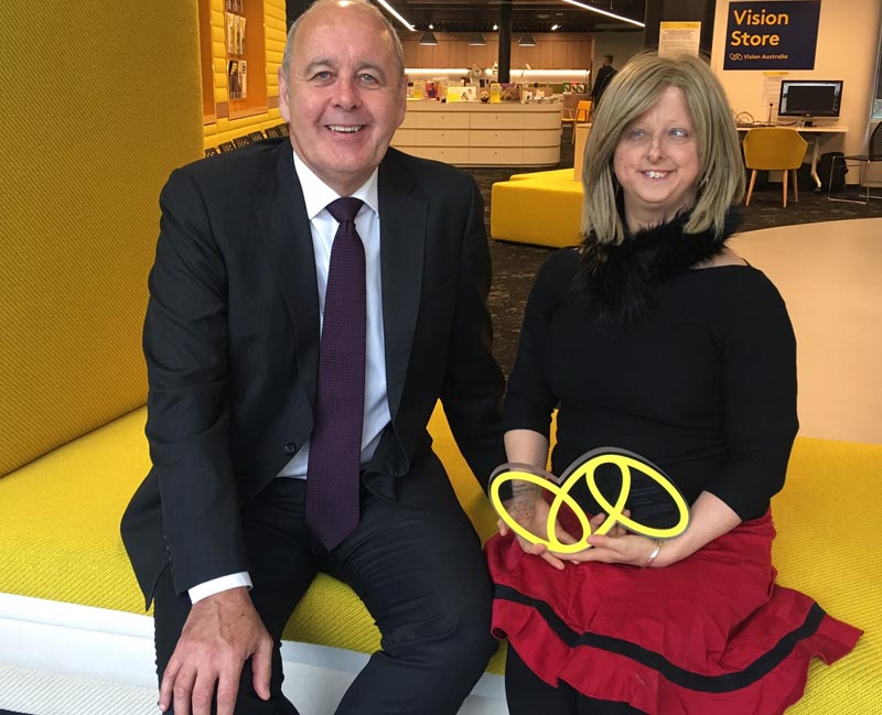 Vision Australia Chief Executive Ron Hooton and Sarah Houbolt