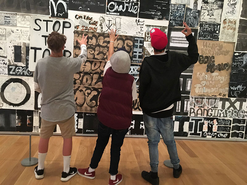 Young people from Target Alterative Education Centre in Henderson visit Auckland Art Gallery as part of the Humans of Hendo project.