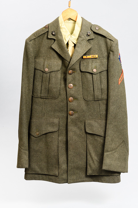 Dress green uniform, trousers and jacket with shirt and tie