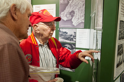 C.J.Daigle looks at the U.S.Marines exhibit at the Paekakariki Station Museum